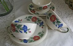 Shenandoah Ware, Made in USA, Cottage Morning Glory Tea Set, Vintage 8pc Tea Set, Paden City 1970s Gift For Her, Bread Plates