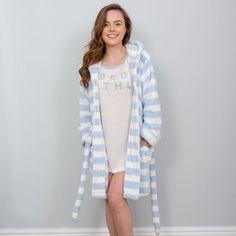 Emily - Flannel Fleece Dressing Gown - Blue Heather A