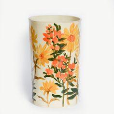 Image of Vintage Sunflower Vase Ceramic Clay, Ceramic Painting, Ceramic Pottery, Pottery Art, Pottery Painting Designs, Pottery Designs, Paint Designs, Mandala Art, Sunflower Vase