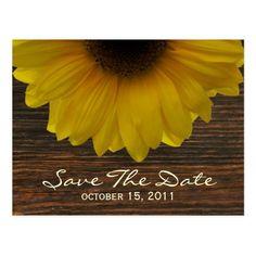 Sunflower & Barnwood Fall Save The Date Postcard