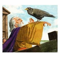 size: Giclee Print: Noah and the Raven Art Print by Clive Uptton by Clive Uptton : Artists Bible Pictures, Jesus Pictures, Bible Images, Raven Art, Biblical Art, Christian Art, Christian Paintings, Bible Art, Bible Verses