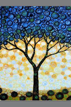 Blueberry Tree -- 8 x 10 Glossy Print Painting Modern Canvas Art, Canvas Wall Art, Modern Art, Tree Canvas, Blueberry Tree, Ideias Diy, Painting Prints, Watercolor Painting, Painting Canvas