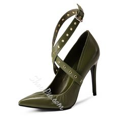I need this Green Pointed Toe Strappy Stiletto Heel in my life!