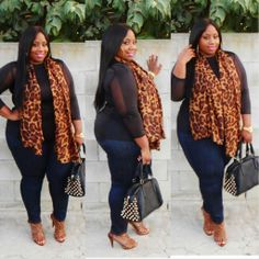 Sheer Leopard--Well put together Navy in the jean complimented the black leopard scarf and sheer top, nice touch. Plus Size Fashion For Women, Plus Size Women, Plus Fashion, Womens Fashion, Curvy Girl Fashion, Look Fashion, Fashion Wear, Spring Fashion, Stylish Outfits