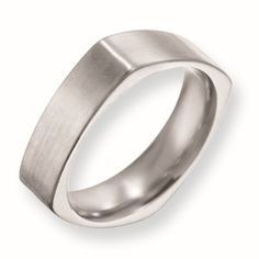 Men's square titanium wedding ban