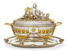 A BELGIAN GILT-METAL MOUNTED SILVER SOUP TUREEN, COVER AND STAND