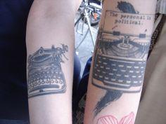 Typewriter tats Originally uploaded by ekai. eddie and i ran into a girl with a typewriter tattoo at ritual roasters! Text Tattoo, I Tattoo, Lila Tattoos, Purple Tattoos, Badass Tattoos, Cool Tattoos, Awesome Tattoos, Political Tattoo, Typewriter Tattoo