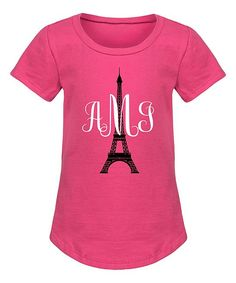 Raspberry Eiffel Tower Monogram Curved-Hem Tee - Girls