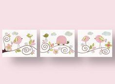 Lot de 3 illustrations pour chambre d'enfant et bebe, fille, rose : Décoration pour enfants par galerie-anais