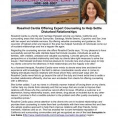 Rosalind Cardia Offering Expert Counseling to Help Settle Disturbed Relationships Rosalind Cardia is a family and marriage therapist serving Los Gatos, Cali. http://slidehot.com/resources/rosalind-cardia-offering-expert-counseling-to-help-settle-disturbed-relationships.45303/