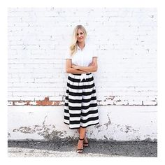 """The darling Emilee from @thesimplicityblog is an absolute stunner in our fabulous striped skirt! • {Like we said, we have a serious """"thing"""" for stripes!} • #primlane #stripes #blackandwhite #bloggerlove #boutique #wearit #ootd #currentlywearing"""