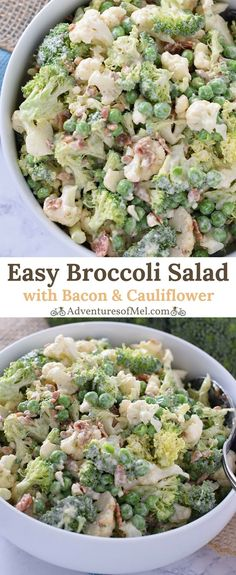 Easy Broccoli Salad, with bacon, cauliflower, sunflower seeds, and peas. A staple side dish and salad recipe perfect for every family gathering.