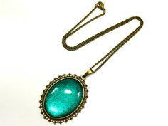 Kette Vintage - oval - türkis - Bronze von Schmuckzucker auf DaWanda.com