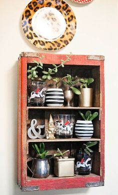 Display nicknacks in old crates and boxes.  Simple and beautiful! #home #decor