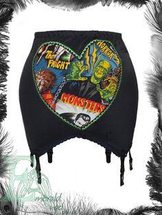 Movie Monsters Heart Girdle Garter belt Suspenders by emeraldangel, $72.00