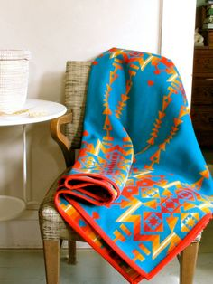 Wool Blanket Native American Design in Turquoise by ohthisnose, $190.00