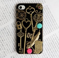 Keys, feather, lock, flower, camera etc. iPhone 4 Case, iphone 4 cover, New Hard Fitted Case For iphone 4 & iphone 4S, Apple iPhone 4 Case
