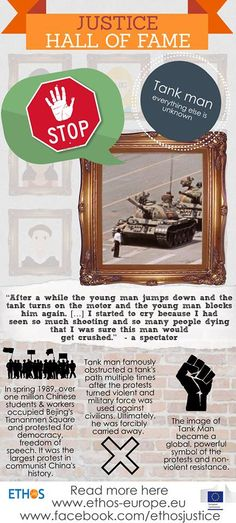 Our next justice hero is a man whose name we don't know, but whose image has made the rounds all over the world. Check out our newest infographic on the one-and-only Tank Man!