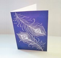 Art cards Handmade greeting cards Peacock feathers by MagnoliaLily