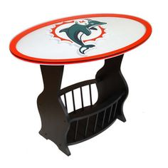 Fan Creations Miami Dolphins Black Oval End Table...Man Cave Worthy...From Lowes