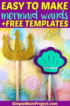 Easy and Adorable Mermaid Wand Crafts for Kids, DIY and Crafts, Use the FREE printable template to make this super cute and easy DiY Sea theme mermaid craft! The seashell mermaid wand is perfect for girls of all ag. Crafts For Teens To Make, Diy For Teens, Diy And Crafts, Arts And Crafts, Kids Crafts, Sun Crafts, Creative Crafts, Easy Crafts, Princess Crafts