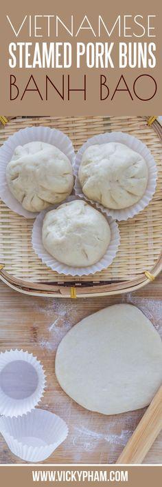 Vietnamese Steamed Pork Buns with Dough from Scratch (Banh Bao) - Vietnamese Recipes - Vietnamese Grilled Pork, Vietnamese Cuisine, Healthy Vietnamese Recipes, Steamed Pork Buns, Asian Steamed Bun Recipe, Steamed Pork Dumplings, Banh Bao Recipe, Low Carb Brasil, Viet Food