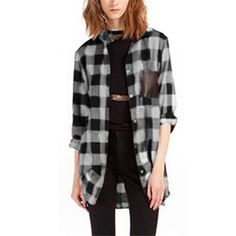 New Style  Womens Classic Black Red Check Plaid Pockets Blouse Long Sleeve Turn Down Collar Tops Shirt Plus Size S-5XL - Black White, XL Like and share if you think it`s fantastic! Visit us