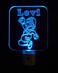 #SuperMarioBrothers Night Light LED Light Colorful Personalized with Name #personalizedgift #LED