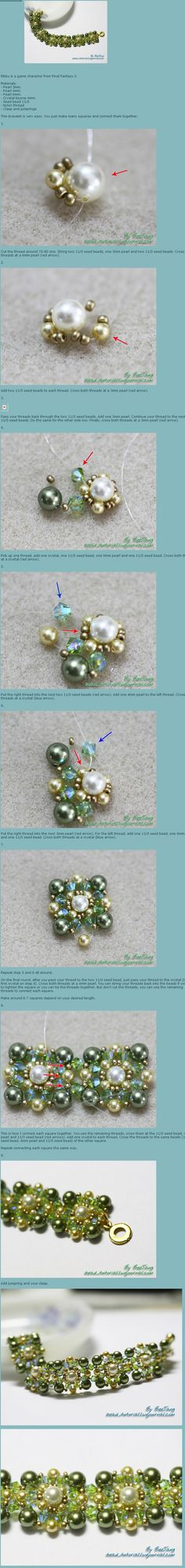 Fabulous free photo tutorial for bead sections that join together to make a bracelet. Uses 3mm, 4mm and 6mm pearls, 4mm crystals and 11/0 seed beads.