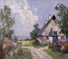 Biography: Erich Paulsen was born in 1932 in a small village near Berlin. He moved with his paents to West Germany a. Beautiful Paintings Of Nature, Nature Paintings, Watercolor Paintings, Landscape Drawings, Abstract Landscape, Landscape Paintings, Kinkade Paintings, Pintura Exterior, Cow Art