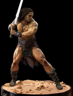 , Jonas Skoog : Creating iconic characters are always lots of fun, so I was really happy when I got the chance to sculpt Conan! The character was primarily created for Conan Exiles release trailer but I also got to create most of him f Iconic Characters, Fantasy Characters, Comic Books Art, Comic Art, Marvel, Dark Tower Tattoo, Diorama, Conan O Barbaro, Sword Poses