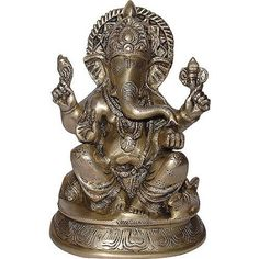 Amazon.com: Religious Gift God Ganesha Statue Brass Sculpture Hindu Art 3.5 x 2.25 x 4.75 Inches: Furniture & Decor