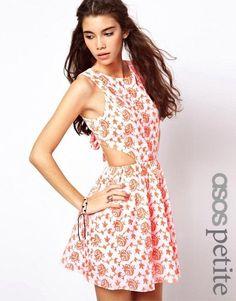 ASOS Petite Sundress / Skater Dress White & Neon Orange Tie Back Floral SZ 4  #ASOS #sundressSkaterDress