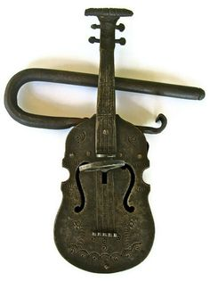 Antique Violin Lock and Key by SwampPink on Etsy, $350.00