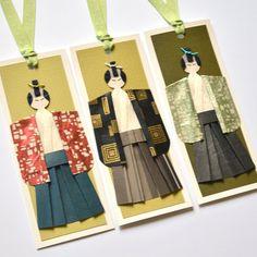 Handmade samurai origami doll bookmarks by TeruTeruDesigns on Etsy