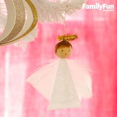 Feathery Angel Ornament: This sweet angel is so easy to make, you can create a whole choir's worth in no time.