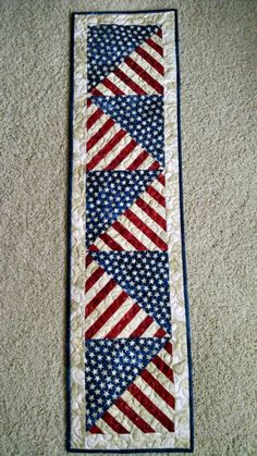 Stars and Stripes Americana Patriotic Quilted Table Runner by Creationsbyweezie on Etsy https://www.etsy.com/listing/216826685/stars-and-stripes-americana-patriotic
