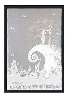 Nightmare Before Christmas Etched Mirror Jack and Sally on the Spiral Hill FS