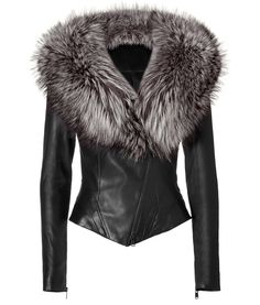Black Leather Jacket with Fur Collar