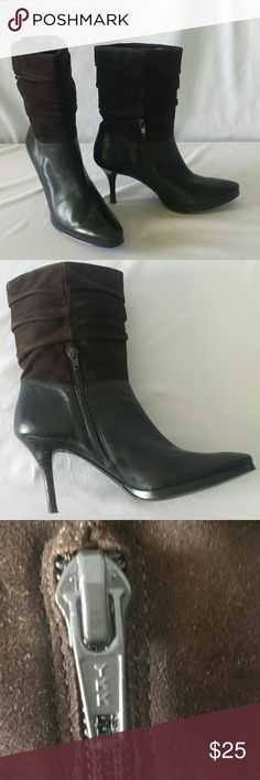 """Brown High Heeled Platform Boots Gorgeous brown spike Heeled platform boots. Zipper opening for easy access. These have approx. 3 1/2"""" heel and just under 1/2"""" platform.  Super nice! Shoes Heeled Boots"""