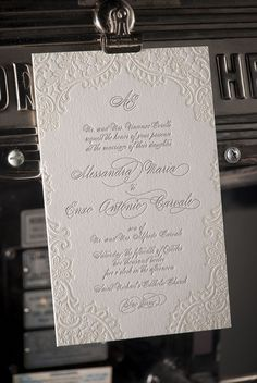 Lace letterpress wedding invitation, Formal, Black Tie look