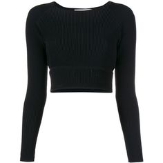 Jonathan Simkhai Longsleeve Angle Cutout Top (2.350 VEF) ❤ liked on Polyvore featuring tops, long sleeve cutout top, long sleeve tops, raglan top, black cut out top and ribbed top