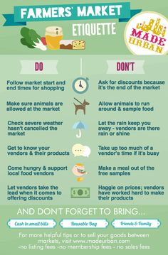 Farmers' Market Etiquette for Shoppers - Made Urban Farmers Market Display, Farmers Market Recipes, Produce Market, Practice What You Preach, Market Stands, Farm Stand, Severe Weather, Etiquette, Organic Gardening
