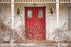 Red Doors Creamy White Old Abandoned House by garyhellerphotograph, $29.00