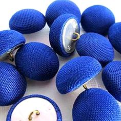 Fancy and Decorative {20mm w/ 1 Back Hole} 30 Pack of Medium Size Round 'Alpha Shank' Sewing and Craft Buttons Made of Genuine Metal and Fabric w/ Bright Royal Cobalt Cloth Top Dome Design {Blue and Silver} * Check out the image by visiting the link.