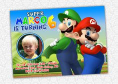 Super Mario Birthday Invite by PrintSparkle on Etsy, $8.00