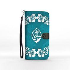 Guam Seal Teal Hibiscus Chamorro Phone Wallet Case iPhone Samsung Pixel Motorola