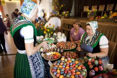 Sorbian women craft ornate Easter eggs