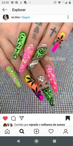 Glow bandanna with Mary Jane ——————————————————————————— Wanna step up your cre. Bling Acrylic Nails, Summer Acrylic Nails, Best Acrylic Nails, Summer Nails, Bride Nails, Wedding Nails, Dope Nails, Swag Nails, Weed Nails