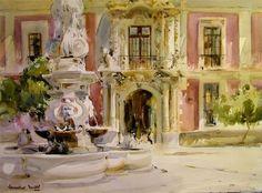 Palacio Episcopal - Laurentino Martí - Watercolor.
